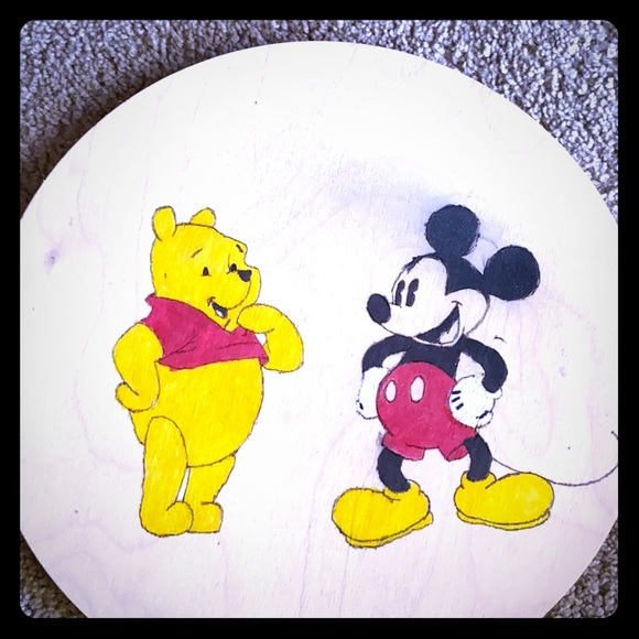 Other - Wood burning of Winnie the Pooh and Mickey Mouse